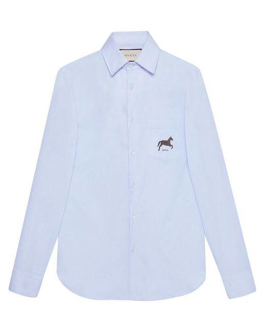 4c2c8b0a Gucci - Blue Cotton Shirt With Horse Fil Coupé for Men - Lyst ...