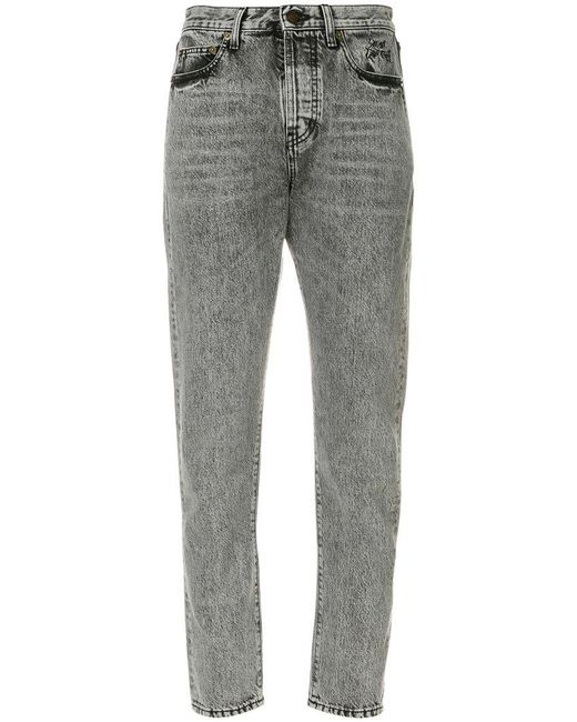 Saint Laurent | Gray High-waisted Cropped Jeans | Lyst