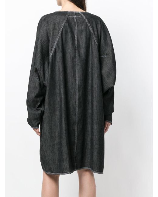 denim Lyst Mm6 vestido Martin por Margiela Maison de gran negro tamaño vqO6P