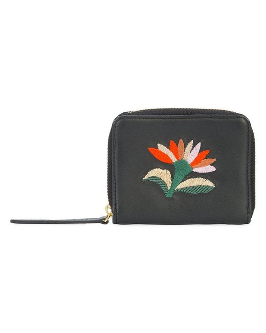 Lizzie Fortunato - Black Embroidered Flower Zip Purse - Lyst