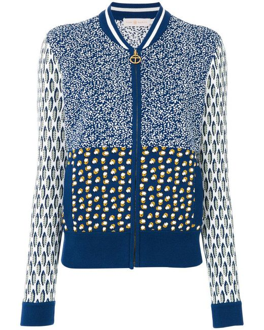 Tory Burch | Blue Intarsia Knit Bomber Jacket | Lyst