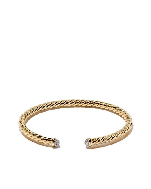 David Yurman - Multicolor 18kt Yellow Gold Cable Spira Diamond Cuff Bracelet - Lyst