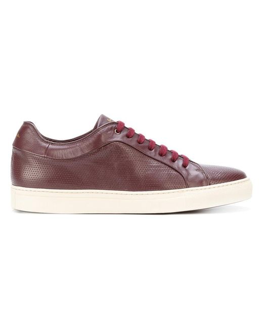 Paul Smith | Red Perforated Lace-up Sneakers for Men | Lyst