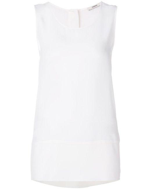 ODEEH - White Sleeveless Tank Top - Lyst