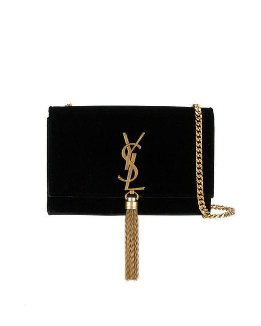 Saint Laurent - Black Monogramme Tasseled Shoulder Bag - Lyst