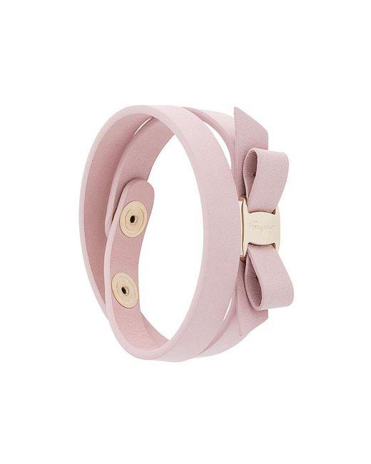 Ferragamo   Pink Vara Bow Double Bracelet   Lyst