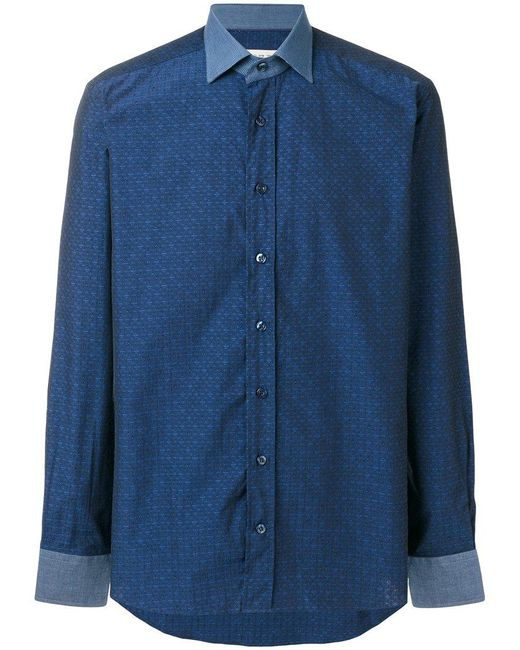 Etro | Blue Contrast Collared Fitted Shirt for Men | Lyst