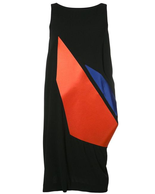 Issey Miyake | Black Sleeveless Graphic Print Dress | Lyst