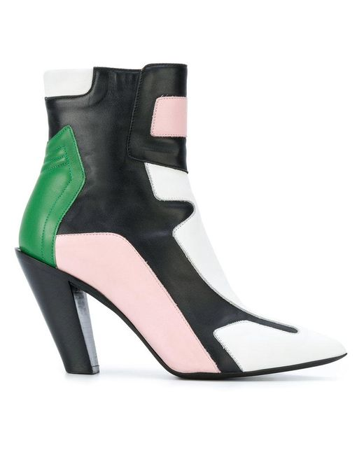 A.F.Vandevorst - Multicolor Contrast Panel Ankle Boots - Lyst
