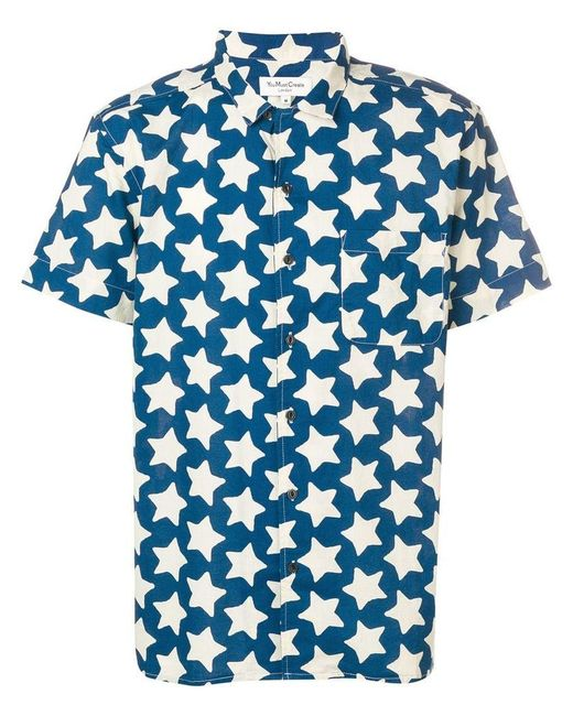 YMC - Blue You Must Create Star Print Shirt for Men - Lyst