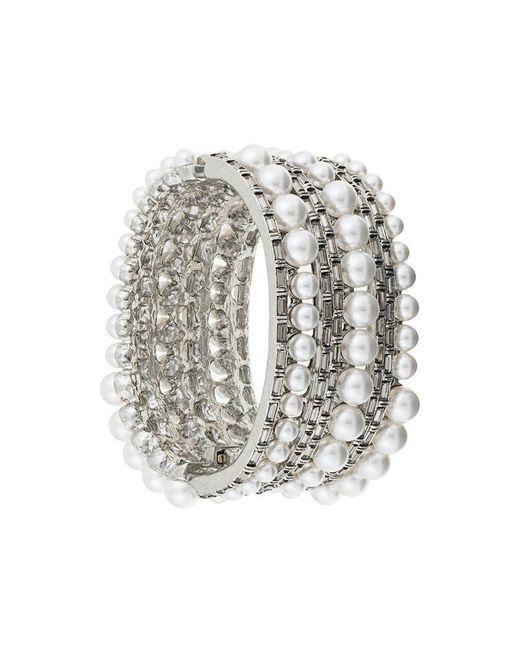 Oscar de la Renta - Metallic Pearled Crystal Baguette Bracelet - Lyst