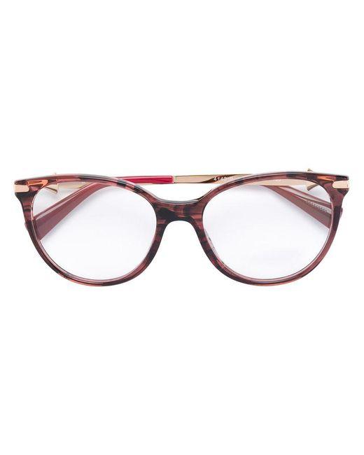 BVLGARI   Brown Wood Effect Round Glasses   Lyst