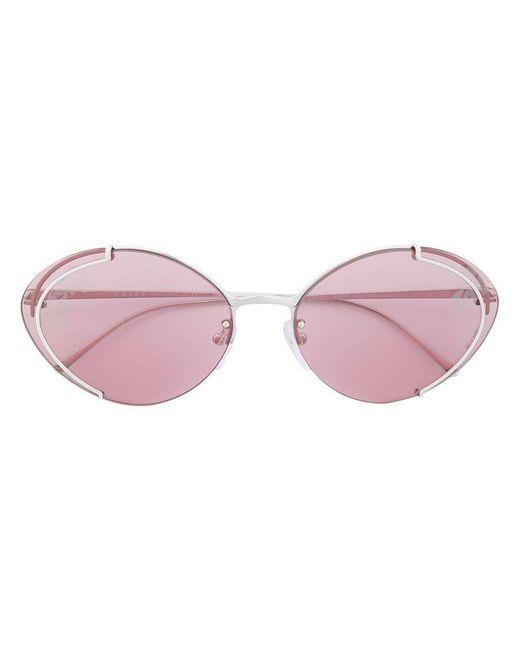 c75669c6592 Prada - Metallic Oval Sunglasses - Lyst ...