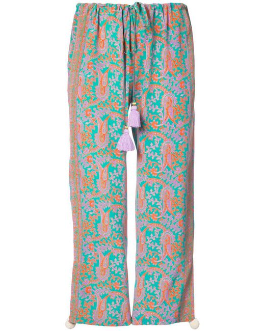 Figue - Blue Goa Paisley-print Cropped Drawstring Trousers - Lyst