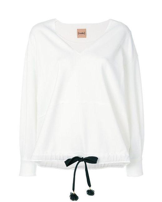 Nude - White Drawstring V-neck Sweatshirt - Lyst