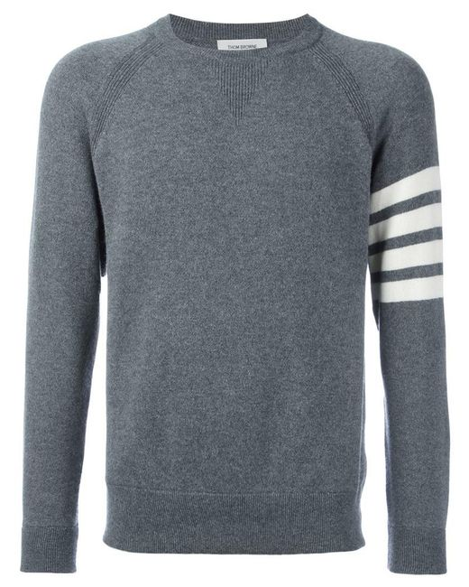 Thom Browne - Gray Fully Fashioned French Terry Crewneck Sweatshirt With 4-bar Stripe In Grey Cashmere for Men - Lyst
