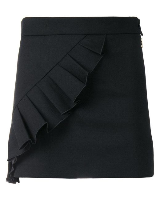 Patrizia Pepe - Black Ruffle-trim Mini Skirt - Lyst