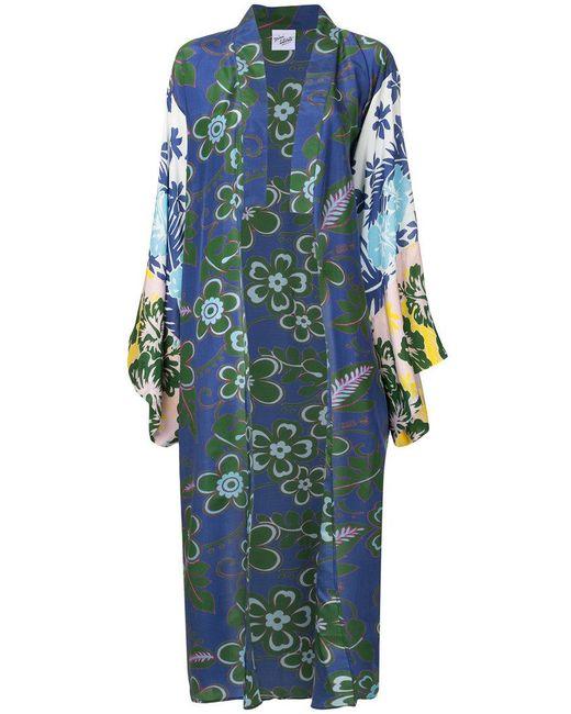 Michel Klein - Blue Floral Print Oversized Kimono Coat - Lyst