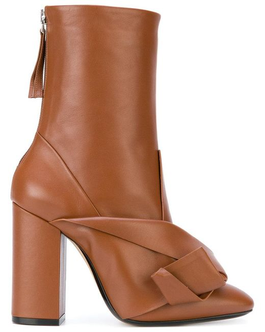N°21 | Brown Bow Embellished Boots | Lyst