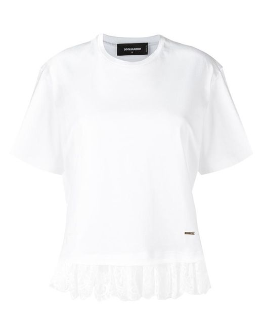 DSquared² - White - Lace Effect Fringed T-shirt - Women - Cotton/polyamide - S - Lyst