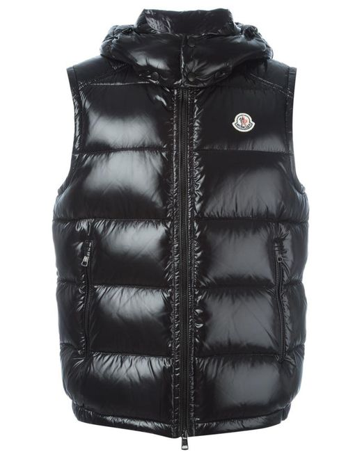 Moncler | Black 'lacet' Gilet for Men | Lyst