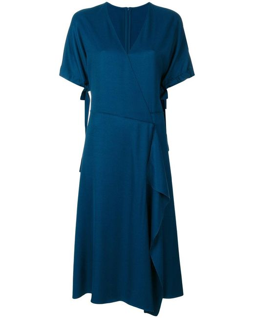 Cedric Charlier - Blue Classic Wrap Dress - Lyst
