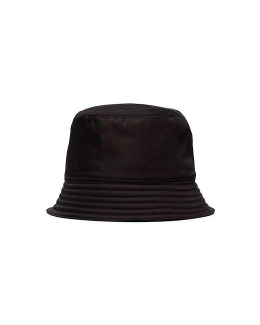 a39f7a935cd8e2 ... Prada - Black Logo Bucket Hat for Men - Lyst ...