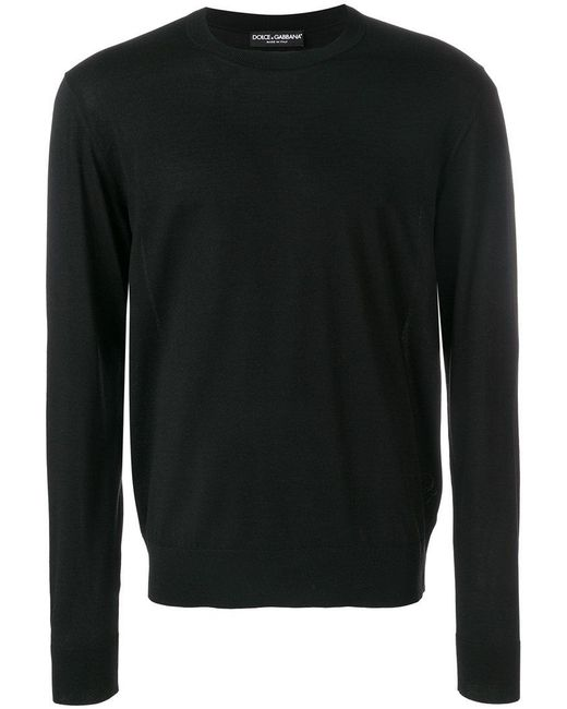 Dolce & Gabbana - Black Embroidered Logo Jumper for Men - Lyst