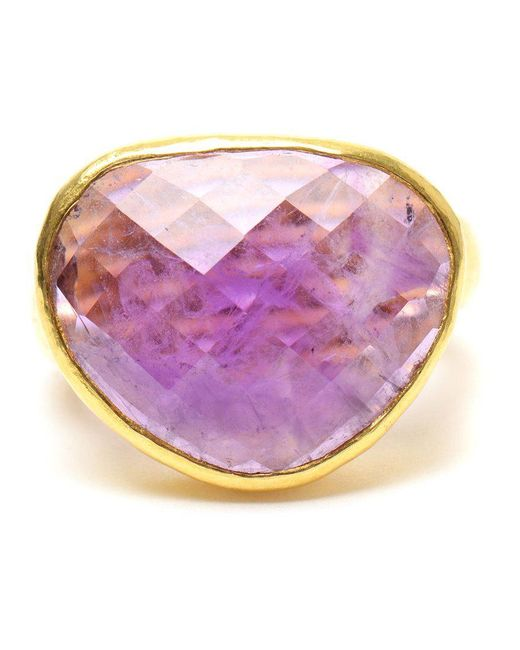 Ram | Metallic Hammered 22k Gold And Amethyst Ring | Lyst