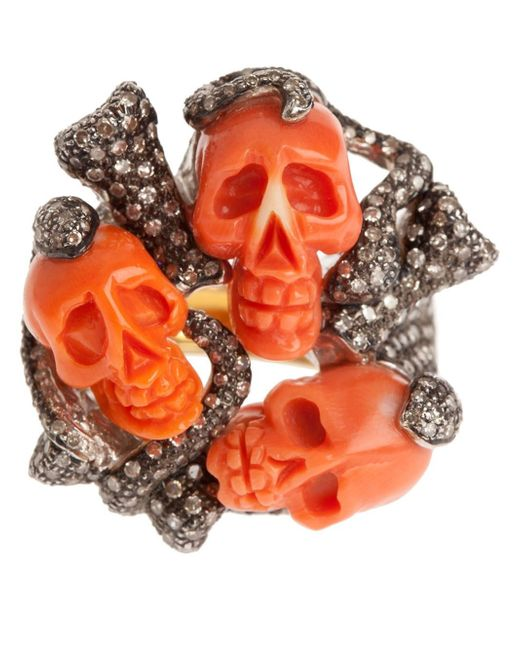 Samira 13 | Orange Skull Cluster Ring | Lyst