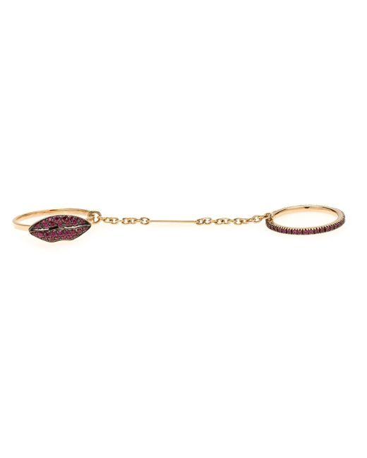 Delfina Delettrez | Metallic 'two In One' Ruby Lips Ring | Lyst