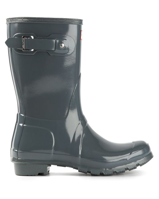 Hunter Original Short Gloss Wellington Boots In Grey  Lyst