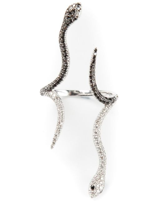 Elise Dray | Metallic Diamond Pavé Siamoise Snake Ring | Lyst