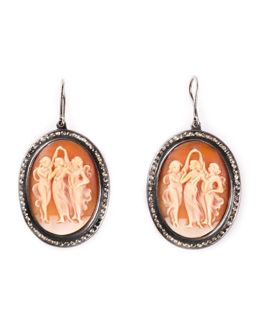 Amedeo | Brown Cameo And Diamond Earrings | Lyst