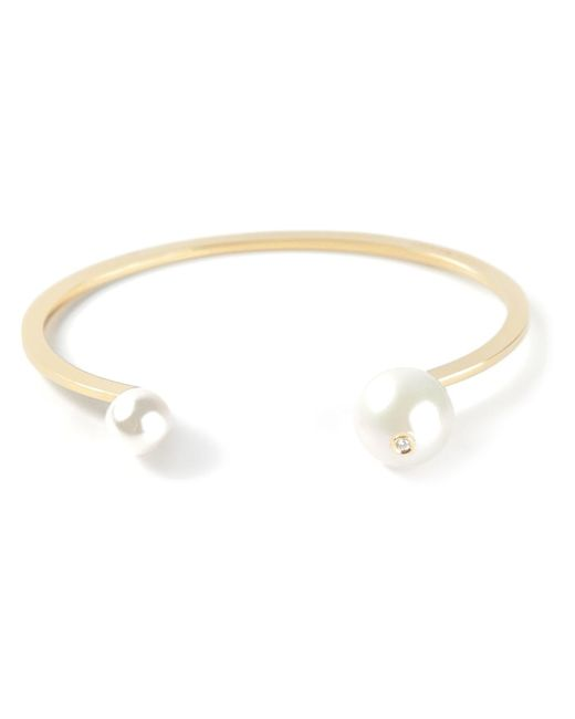 Delfina Delettrez | Metallic 'pearl Piercing' Diamond Bangle | Lyst