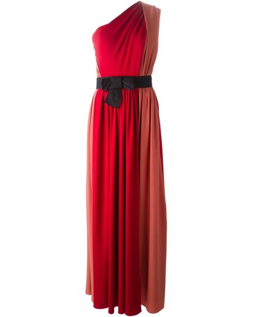 Lanvin | Red One Shoulder Evening Gown | Lyst