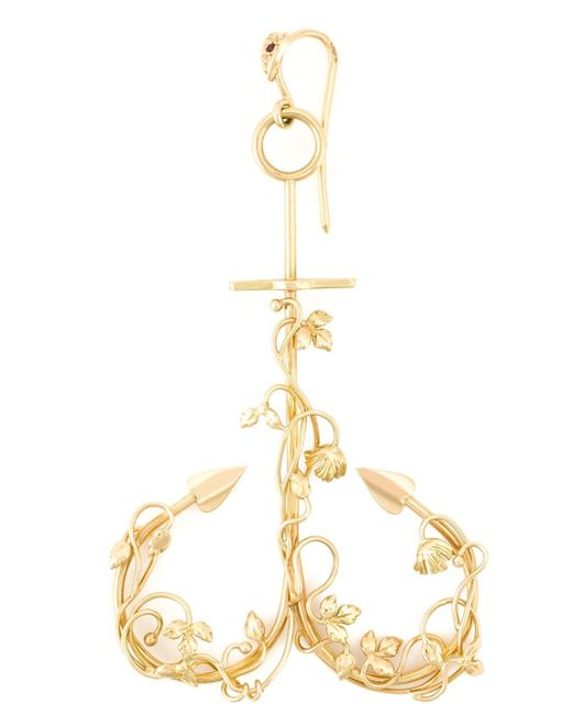 Natasha Zinko | Metallic 18kt Yellow Gold Anchor Curved Earring | Lyst