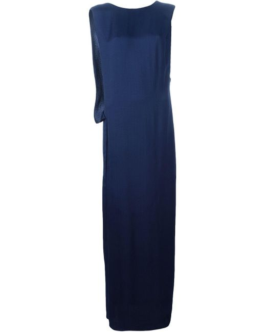 Lanvin   Blue Sleeveless Mini Dress With Rouches   Lyst