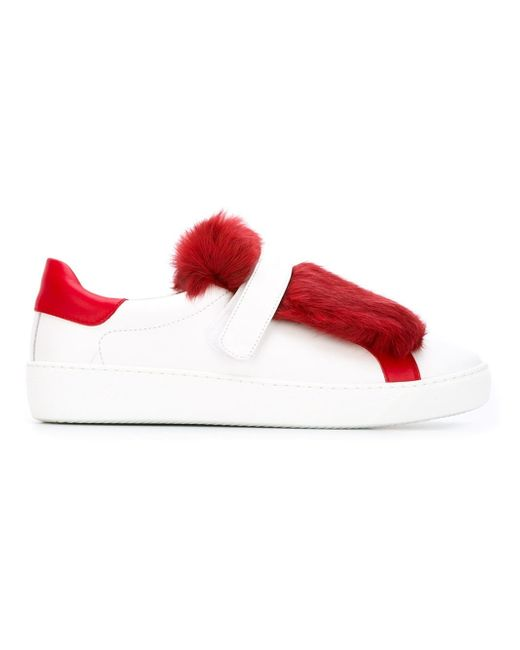 Moncler | White Lucie Leather & Rabbit Fur Sneakers | Lyst