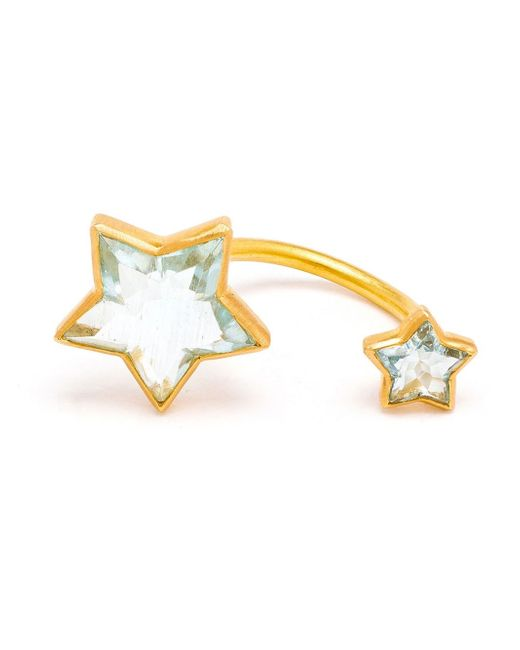 Marie-hélène De Taillac | Metallic 18kt Gold Double Star Aquamarine Ring | Lyst