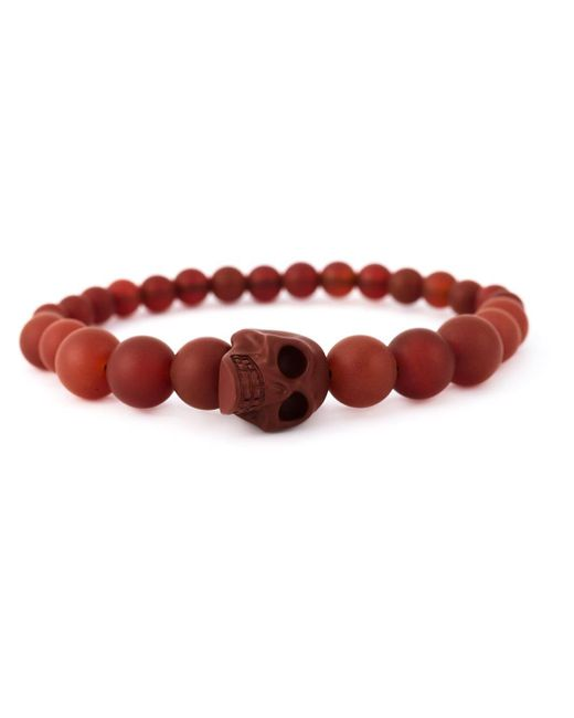 Alexander McQueen | Red Beaded Skull Bracelet for Men | Lyst