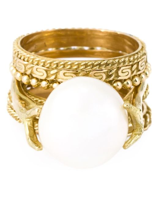 Wouters & Hendrix | Metallic Pearl Set Of Rings | Lyst
