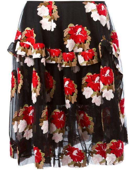Simone Rocha | Floral-embroidered Asymmetric Ruffle Skirt | Lyst