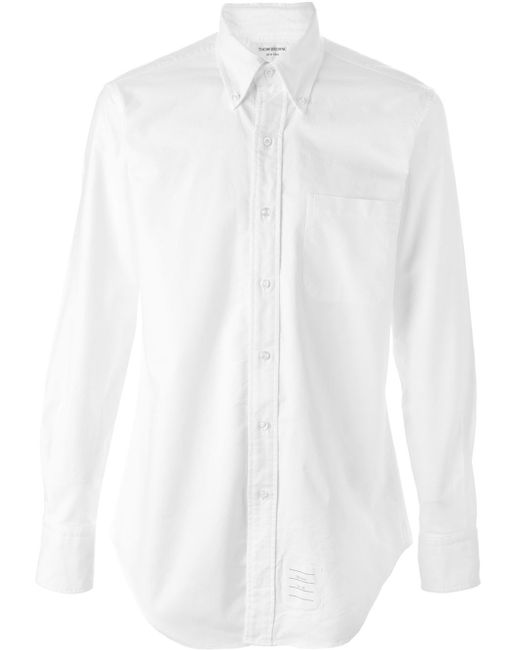Thom browne logo patch shirt in white for men lyst for Thom browne white shirt
