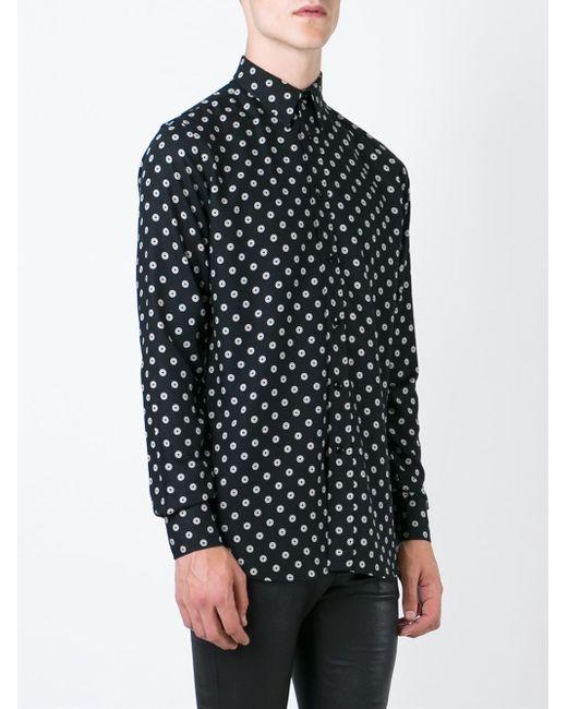 Saint laurent Small Circle Print Shirt in Black for Men - Save 40 ...