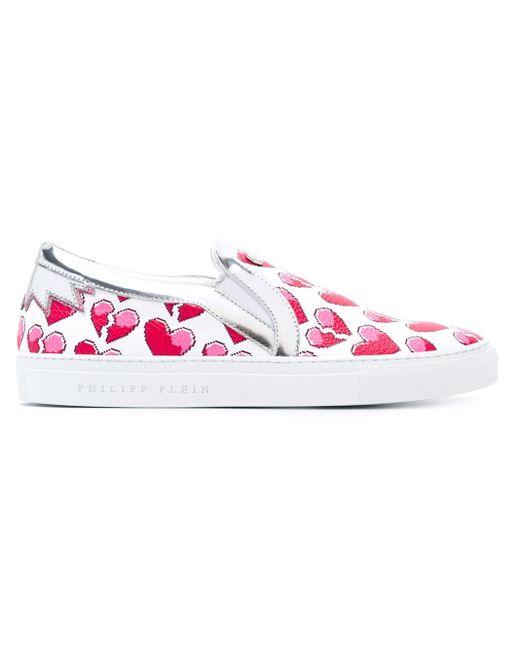 Philipp Plein | White Heart Print Slip-on Sneakers | Lyst