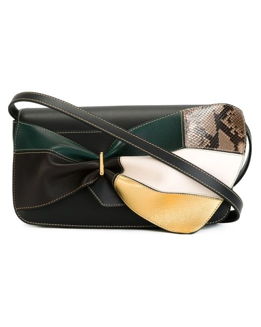 Marni | Black Bow Detail Paneled Shoulder Bag | Lyst
