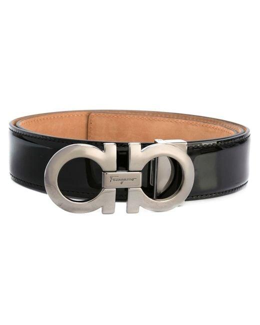 Ferragamo   Black Double Gancini Leather Belt for Men   Lyst