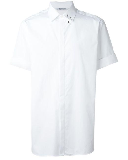 Neil Barrett   White Lightning Bolt Print Shirt for Men   Lyst