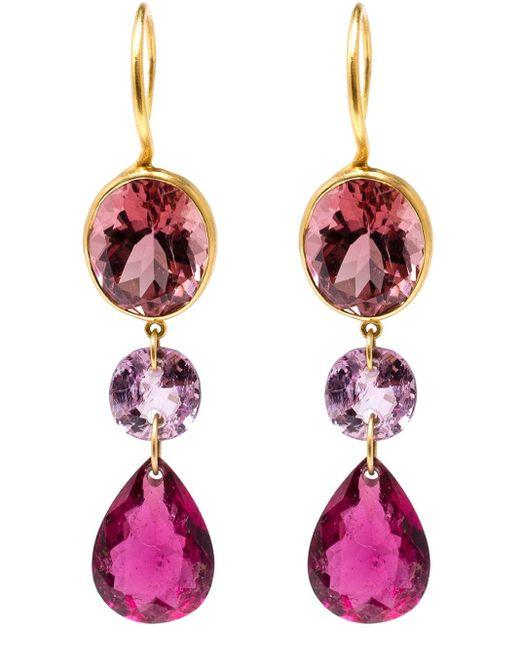 Marie-hélène De Taillac   Pink 22kt Yellow Gold Drop Tourmaline Earrings   Lyst